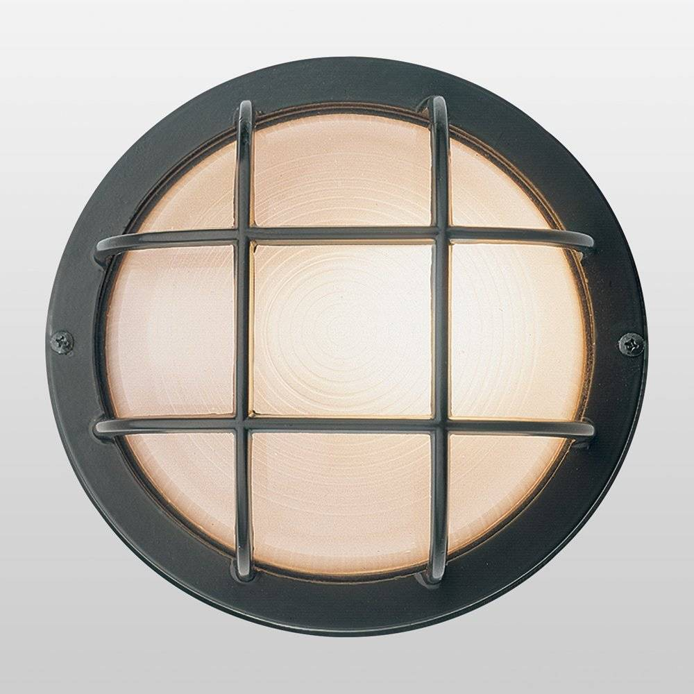 """Image of """"7"""""""" Nauticus Round Wet Location Outdoor Wall Light with Frosted Glass Shade Black - Access Lighting"""""""