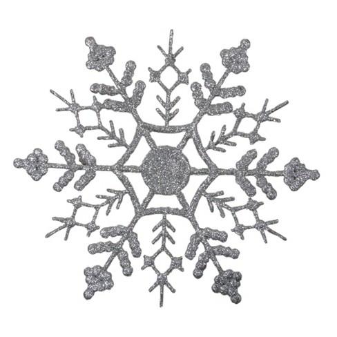 Christmas Snowflakes.Northlight 12ct Glitter Snowflake Christmas Ornament Set 6 25 Silver