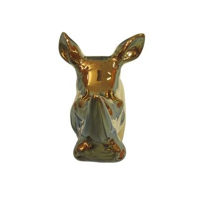 4.25 x2.6  Polyresin Rhinoceros Decorative Wall Sculpture Gold