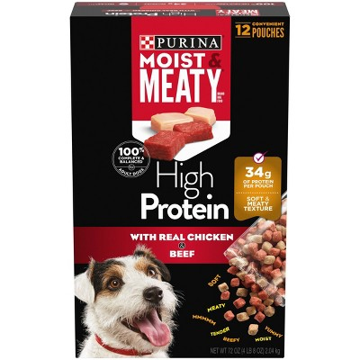 Moist & Meaty High Protein Chicken & Beef Flavor Dry Dog Food - 12ct Pack