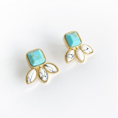 Sanctuary Project Semi Precious Turquoise and White Howlite Three Stone Stud Earrings Gold
