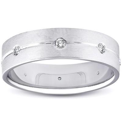 Pompeii3 Mens Comfort Fit Bezel Diamond Wedding 14K Band 6mm Mens White Gold Ring