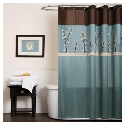 Cocoa Flower Shower Curtain Blue - Lush Decor®