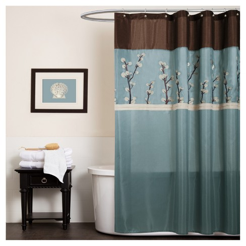Cocoa Flower Shower Curtain Blue - Lush Decor - image 1 of 1