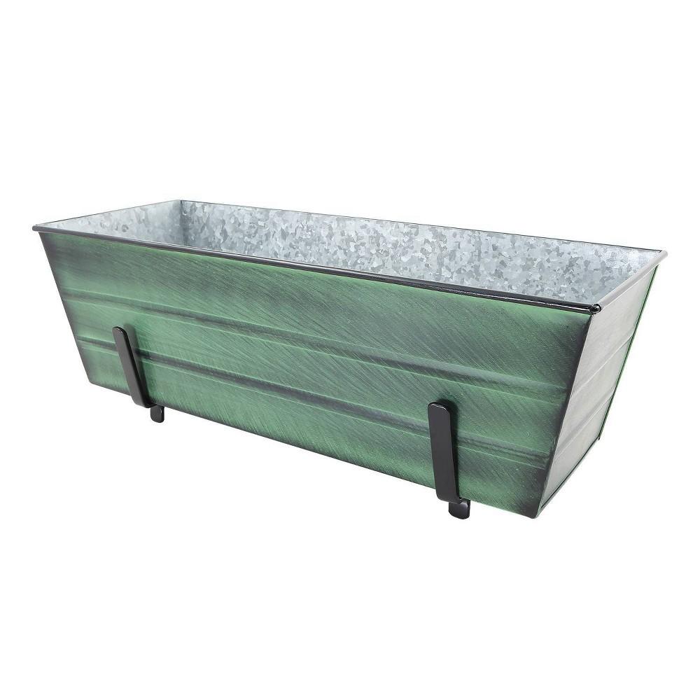 24 34 Medium Galvanized Steel Flower Box With Brackets For 2 X 6 Railings Green Achla Designs