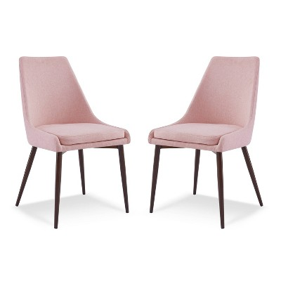 Set of 2 Roman Mid Century Dining Chair Pink - Poly & Bark