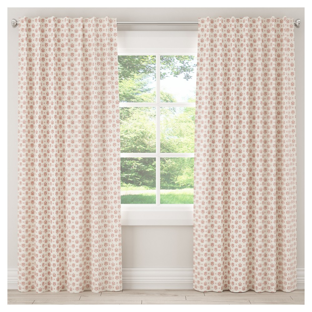 Blackout Small Block Floral Curtain Panel Red (50
