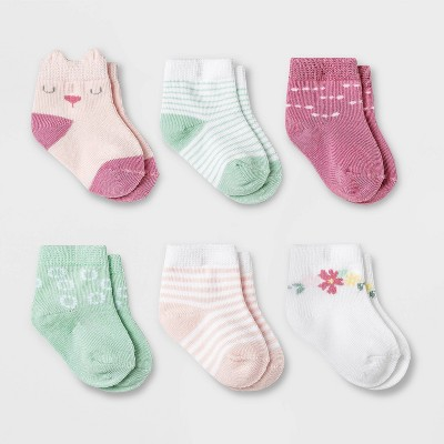 Baby Girls' 6pk Meadow Crew Socks - Cloud Island™ 0-6M