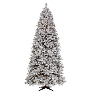 9ft Pre-lit Full Flocked Douglas Taos Fir Auto Connect Clear Artificial Christmas Tree - Wondershop™