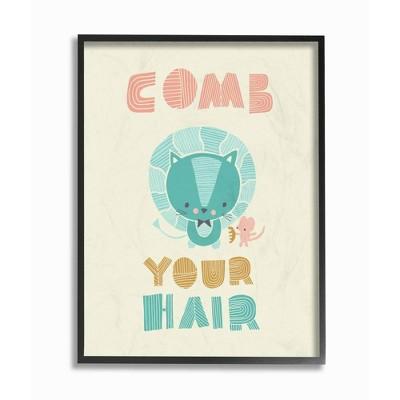 "11""x1.5""x14"" Comb Your Hair Mod Lion Framed Giclee Texturized Art - Stupell Industries"