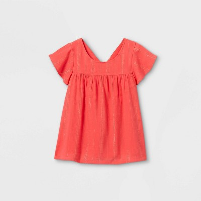 Girls' Striped Short Sleeve Woven Top - Cat & Jack™ Coral