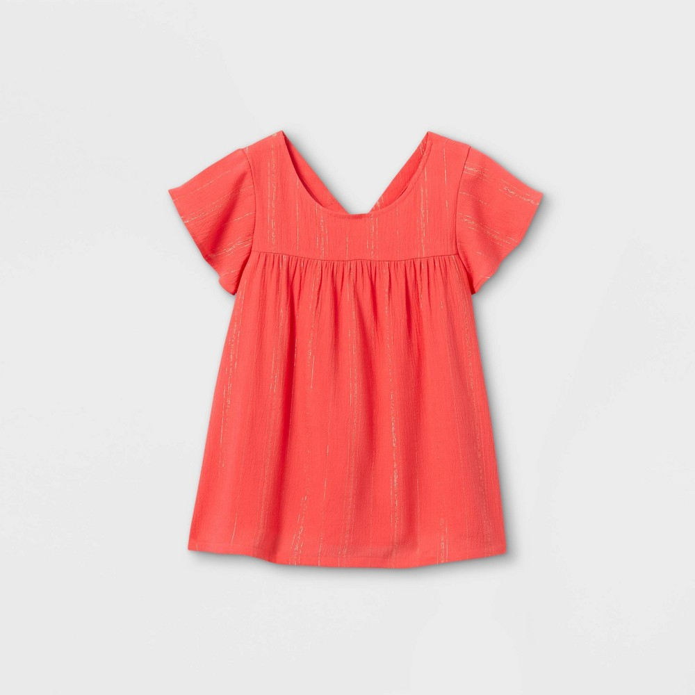 Girls 39 Striped Short Sleeve Woven Top Cat 38 Jack 8482 Coral Xl