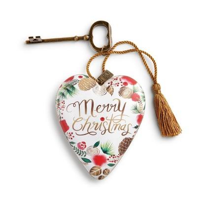 DEMDACO Merry Christmas Wreath Art Heart 4 inch - White