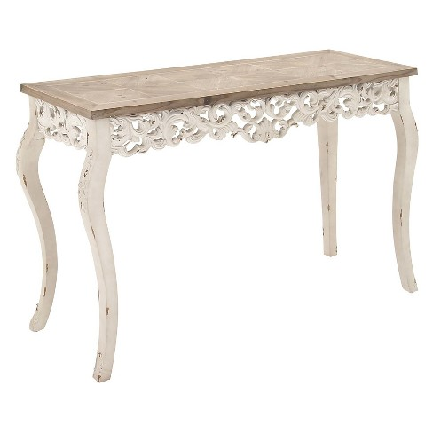 Wood Parisian Design Fl Ornate Detailing Console Table White Olivia May Target