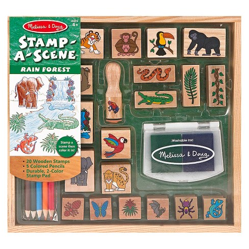 Melissa & Doug® Stamp-a-Scene Stamp Set: Rain Forest - 20 Wooden Stamps, 5 Colored Pencils, and 2-Color Stamp Pad - image 1 of 3