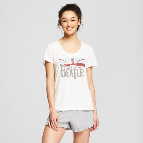 3452b3a7f6 Women s The Beatles Flag Sleep Pajama Set - Natural S   Target