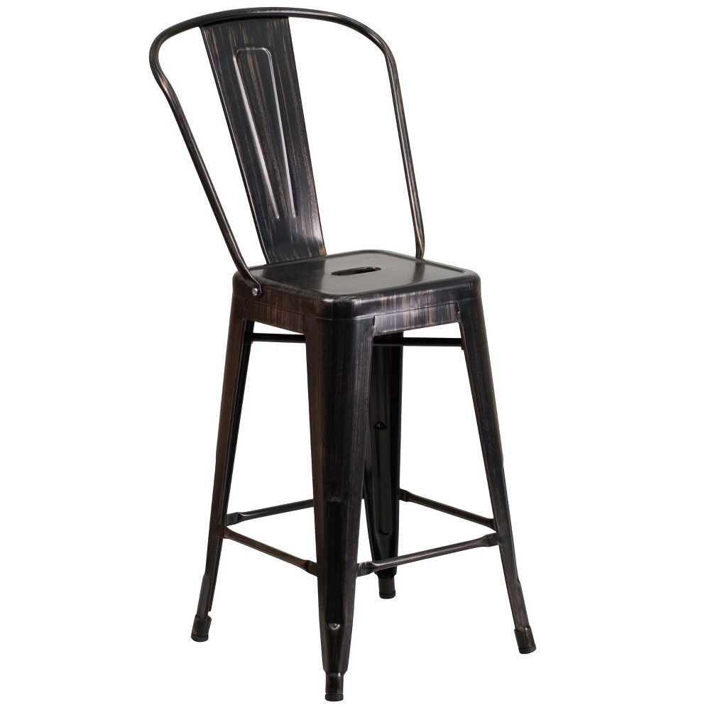 "Image of ""24.5"""" Riverstone Furniture Collection Metal Outdoor Stool Distressed Black"""