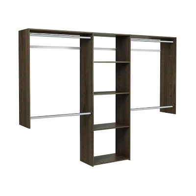 Easy Track Deluxe Starter Closet Storage Wall Mounted Wardrobe Organizer System Kit with Shelves and Rods, Truffle