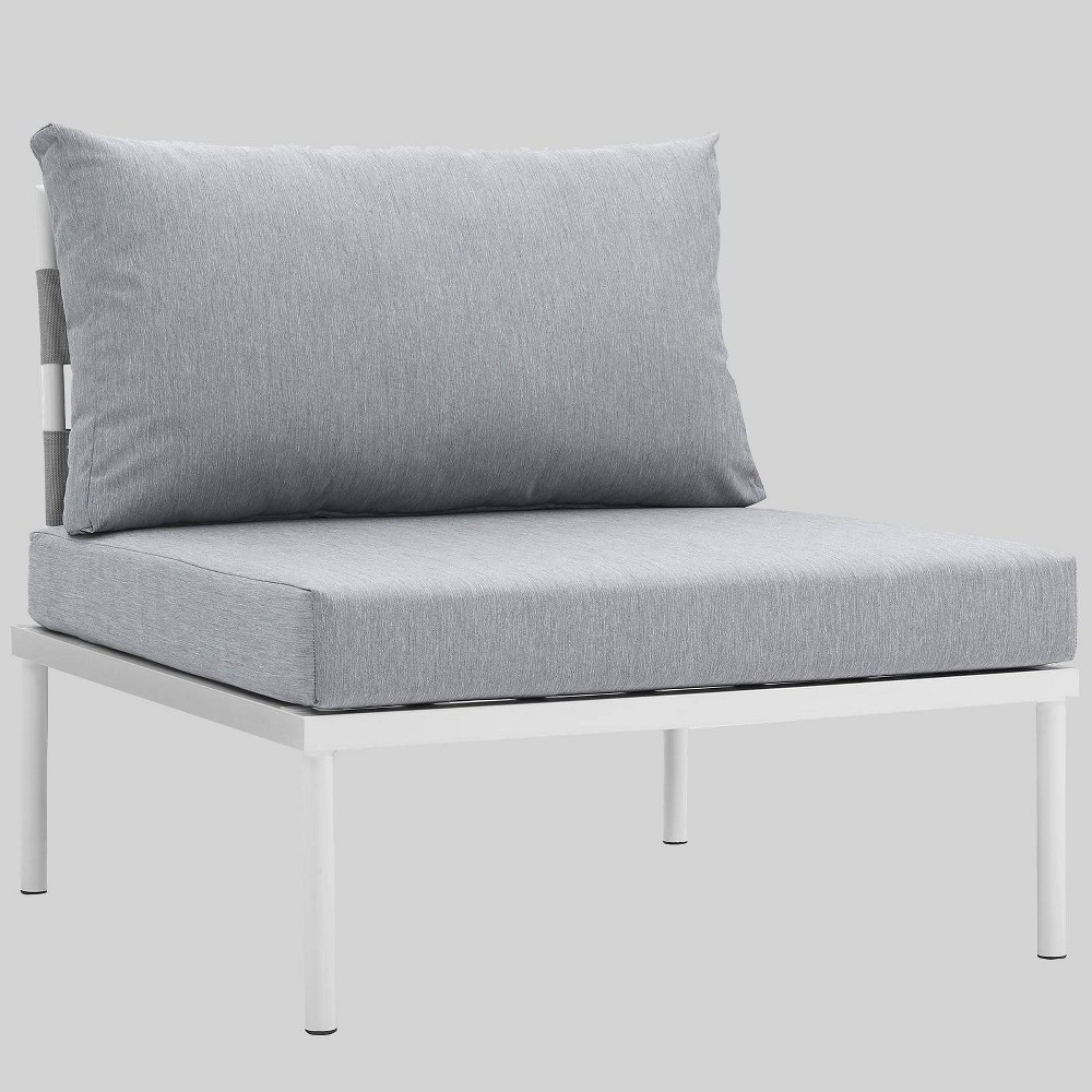 Harmony Aluminum Outdoor Patio Armless Chair - Gray - Modway
