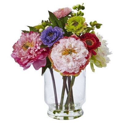 Peony & Mum in Glass Vase Pink - Nearly Natural