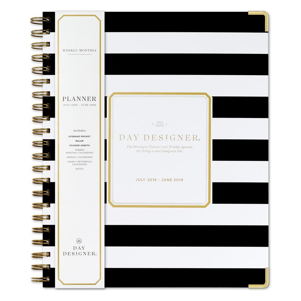 2018 - 2019 Spiral Day Designer Stripe Monthly Weekly Planner - White/Gold, Black