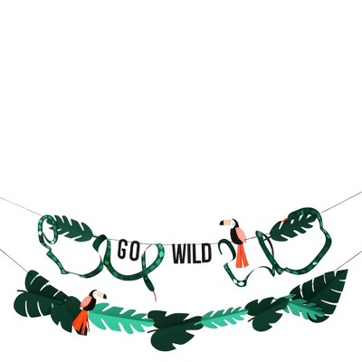 Meri Meri Go Wild Jungle Themed Banner – Party Decorations and Accessories – 10'