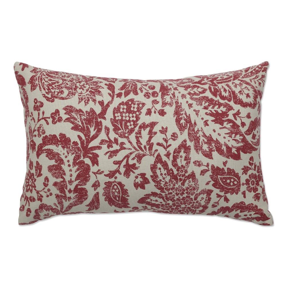 Red Tan Floral Damask Lumbar Throw Pillow 11 5 X18 5 Pillow Perfect