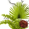 Hydrangea, Bells Of Ireland and Palm Frond Arrangement in Glass Vase - Nearly Natural - image 2 of 3