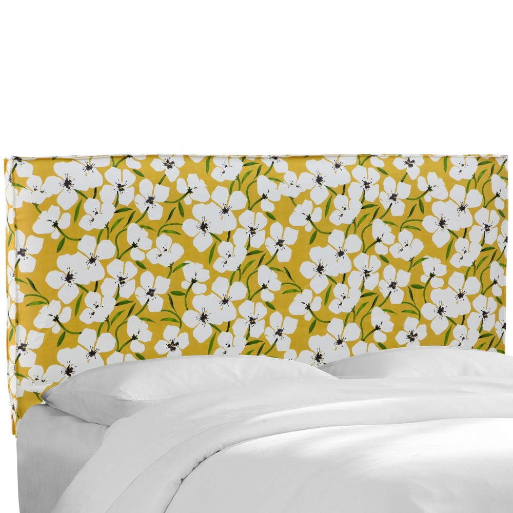 Twin Isabella French Seam Slipcover Headboard Yellow Floral - Cloth & Co.