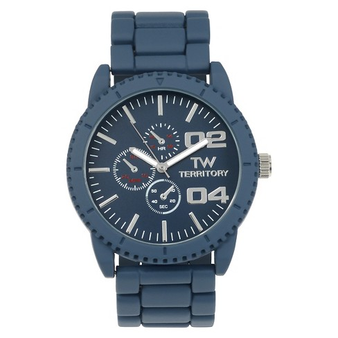 Men's Territory Round Face Colored Metal Link Watch - Navy - image 1 of 3