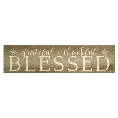 Stratton Home Decor 7 x28  Grateful, Thankful, Blessed  Decorative Wall Art Set Brown