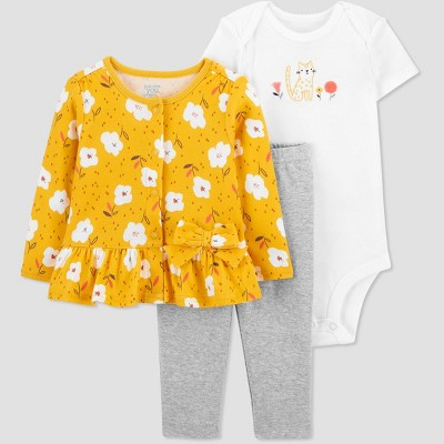 Baby Girls' 3pc Floral Top and Bottom Set with Cardigan - Just One You® made by carter's Yellow Newborn