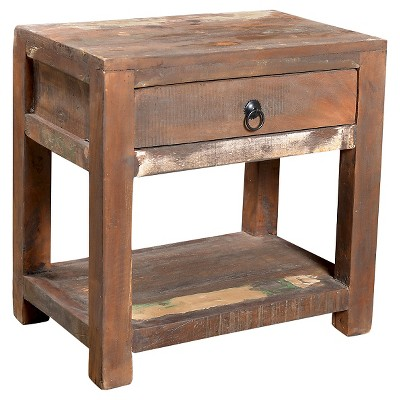 Reclaimed Wood Side Table and Drawer Natural - Timbergirl
