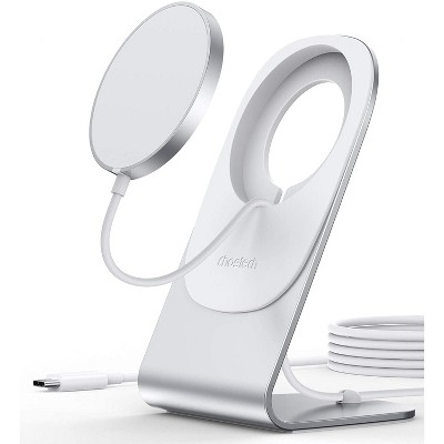 Choetech Magnetic Wireless Charger for iPhone 12 Pro Max/Mini & Airpods Fast Magsaf-e Wireless Charging StationCharging Stand Holder with 5ft USB-C Cable Mag Charger Included - H047 - Silver