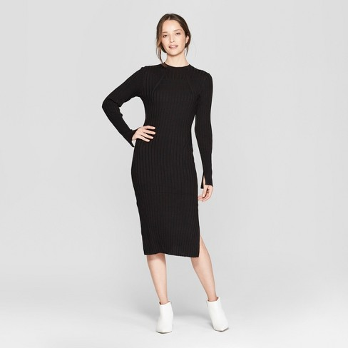 828c9f3a71c Women s Long Sleeve Ribbed Midi Sweater Dress - Prologue™ Black   Target