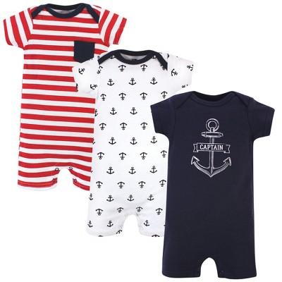 Hudson Baby Infant Boy Cotton Rompers 3pk, Captain