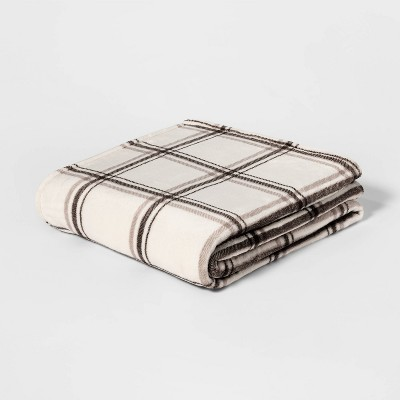 Full/Queen Printed Pattern Microplush Bed Blanket Gray Plaid - Threshold™