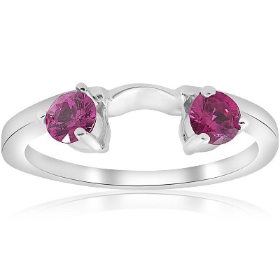 Pompeii3 1/2ct Ruby Wrap Engagement Guard Ring 14K White Gold