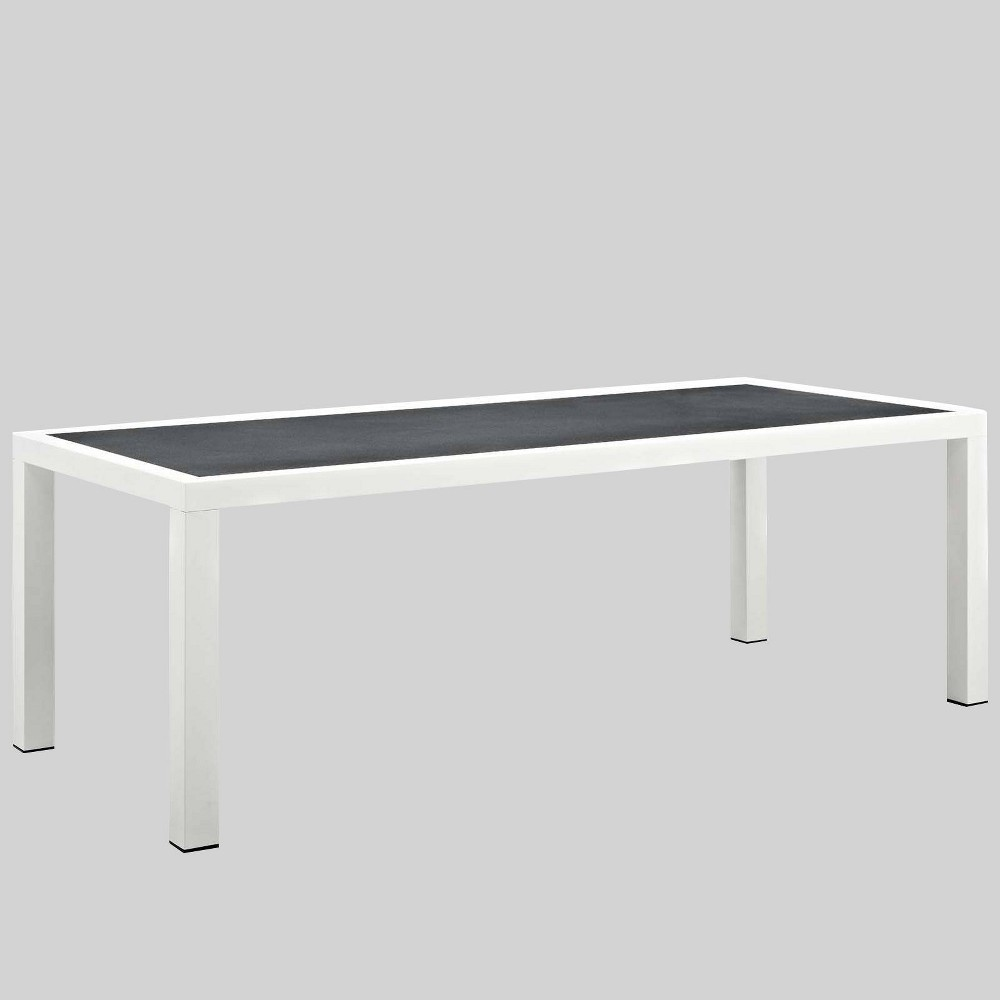 Stance 90 5 34 Rectangle Aluminum Patio Dining Table Gray Modway