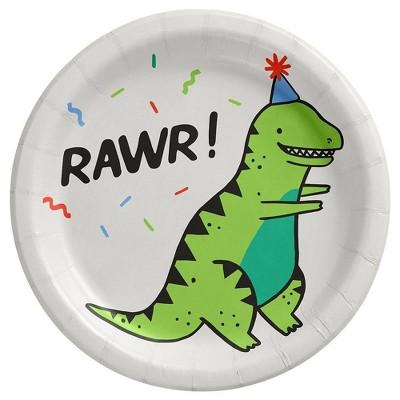 10ct Fossil Friends Dinosaur Snack Paper Plates - Spritz™