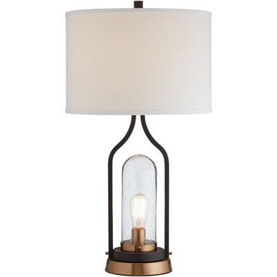 Franklin Iron Works Industrial Farmhouse Table Lamp with Nightlight LED Bronze Brass Seeded Clear Glass Drum Shade for Living Room