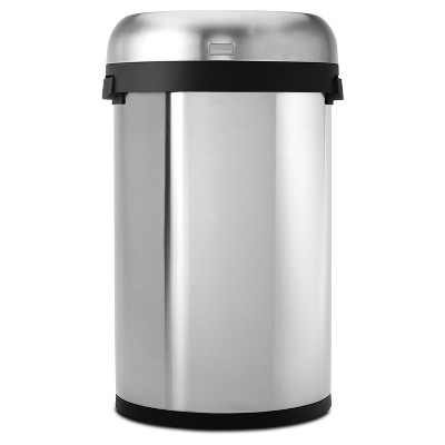 Simplehuman 60 Liter Semi Round Open Top Trash Can, Commercial Grade,  Heavy Gauge Brushed Stainless Steel : Target