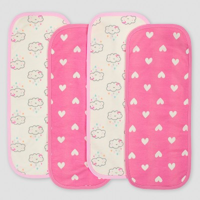 Gerber® Baby Girls' 4pk Interlock/Terry Burpcloths Clouds - Pink/White