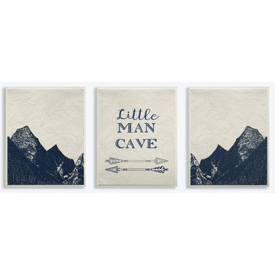 """3pc 10""""x0.5""""x15"""" Little Man Cave Arrows and Mountains Wall Plaque Art Set - Stupell Industries"""
