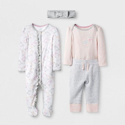 Baby Girls' 4pc Set - Cloud Island™ Pink 0-3M