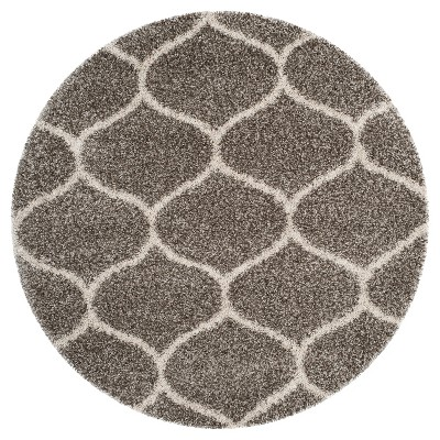 Hudson Shag Rug - Gray/Ivory - (7'X7' Round) - Safavieh