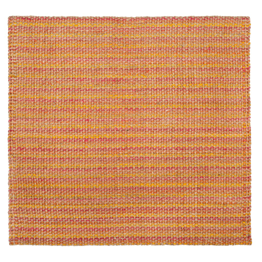 Pink Basket Weave Woven Square Area Rug 6'X6' - Safavieh, Pinknmulti-Colored