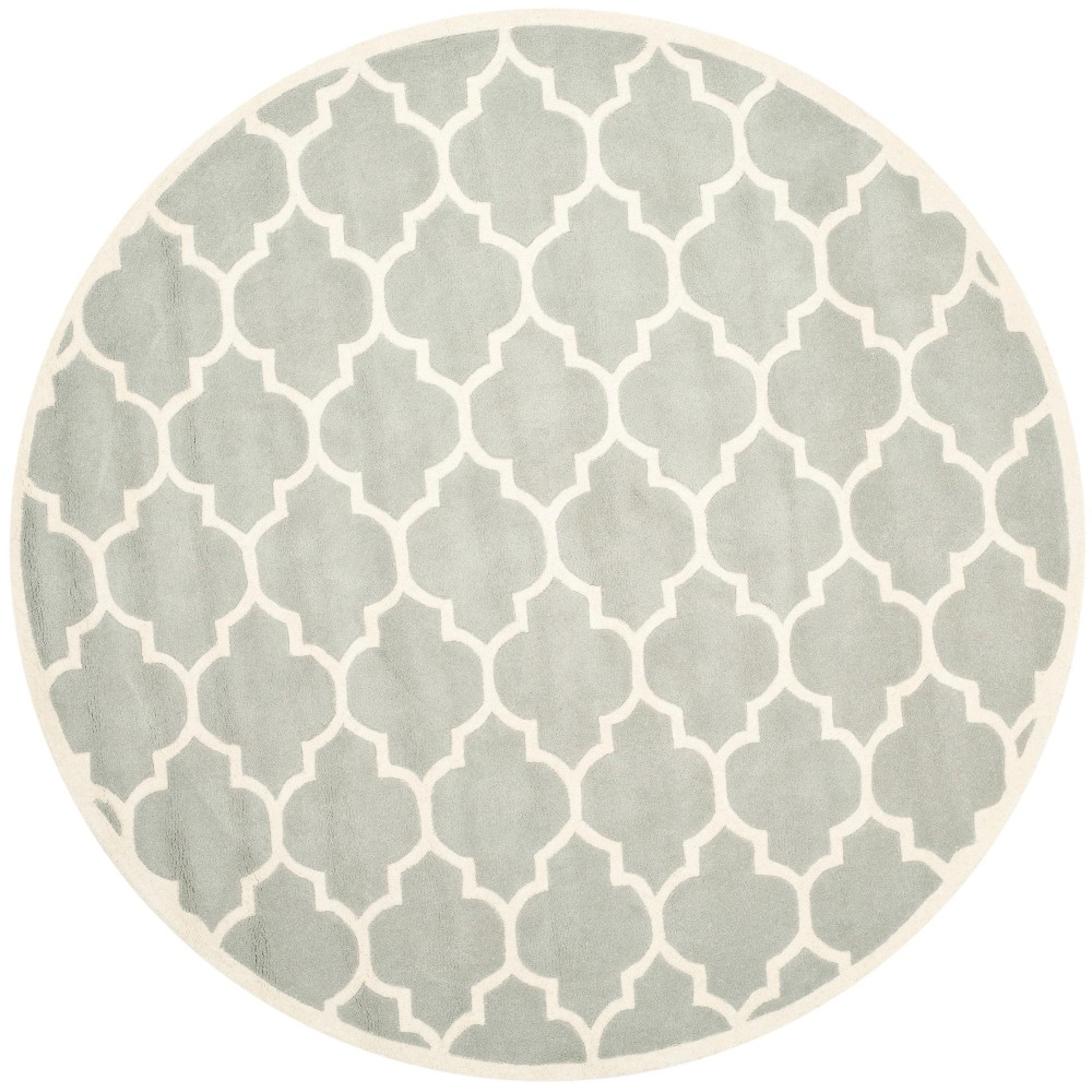 4' Quatrefoil Design Tufted Round Area Rug Gray/Ivory - Safavieh