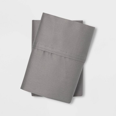 King 400 Thread Count Solid Performance Pillowcase Set Gray - Threshold™