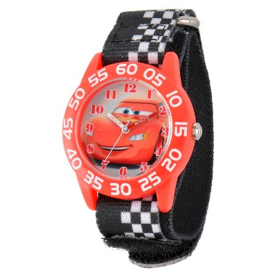 Boys' Disney Cars Lightning Mc Queen Red Plastic Time Teacher Watch - Black